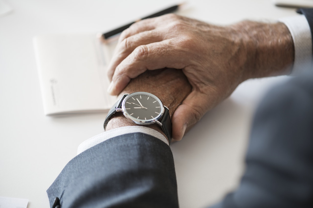Folded hands with watch